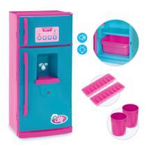 Geladeira de Brinquedo Color Chefs Com Som Luz e Acessórios Kit Cozinha Infantil Usual Brinquedos -