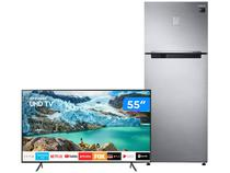 "Geladeira/Refrigerador 453L + Smart TV 4K LED 55"" - Samsung"