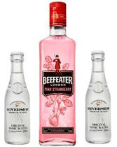Gin Beefeater Pink 750ml + 2 Aguas Tonicas Riverside Original 200ml -