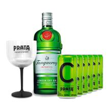 Gin Tanqueray 750ml + 6 Citrus Prata 269ml + Taça -