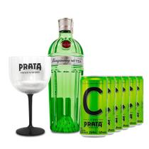 Gin Tanqueray Nº Ten 750ml + 6 Citrus Prata 269ml + Taça -