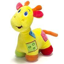 Girafa de pelúcia c/ chocalho Unik amarelo -
