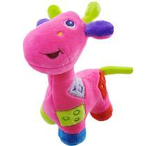 Girafa De Pelúcia Colorida Com Chocalho Pink Unik Toys -
