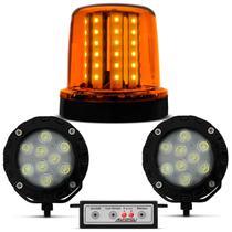 Giroflex Luz de Emergência 54 LEDs 12/24V Âmbar + Kit Milha Strobo 9 LEDs Branco Efeito Xênon - Autopoli