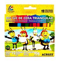 Giz de Cera Big Triangular 12 unidades - Acrilex -