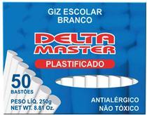 Giz Escolar Plastificado Branco 30CXSX50PALITOS Caixa Delta -