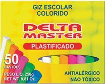 Giz Escolar Plastificado Color 30CXSX50PALITOS Caixa Delta -
