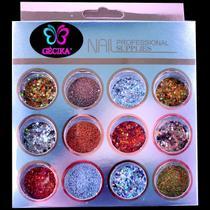 Glitter Decoração Encapsulado de Unhas Gel Acrigel Fibra e Porcelana Gecika COD 02 - Gécika