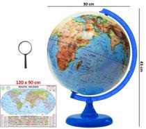 Globo Terrestre Galilei Físico 30cm Base e Régua Azul + Mapa Mundi + Lupa - Editora Libreria