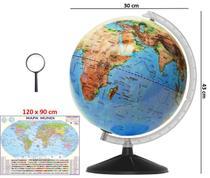 Globo Terrestre Galilei Físico 30cm Régua Preta + Mapa Mundi + Lupa - Editora Libreria