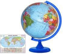 Globo Terrestre Político 30 cm Diâmetro-acompanha Mapa Mundi - LIBRERIA