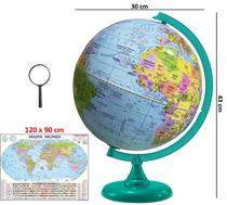 Globo Terrestre Político Bilíngue 30cm Base e régua Verde + Mapa Mundi + Lupa - Editora Libreria