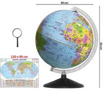 Globo Terrestre Político Bilíngue 30cm Base Preta + Mapa Mundi + Lupa - Editora Libreria
