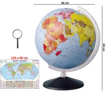 Globo Terrestre Político Continental 30cm Diâmetro + Mapa Mundi + Lupa - Editora Libreria