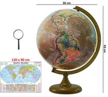 Globo Terrestre Político Histórico 30cm Diâmetro com Mapa Mundi Gigante e Lupa - LIBRERIA
