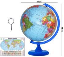 Globo Terrestre Político Studio Azul 30cm Diâmetro Com Mapa Mundi Gigante E Lupa - LIBRERIA