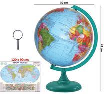 Globo Terrestre Político Verde Turquesa 30cm Diâmetro Com Mapa Mundi Gigante E Lupa - LIBRERIA