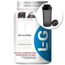 Glutamina L-G - 600g + Coqueteleira 600ml Preta - Max Titanium -