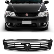 Grade Dianteira Fiat Palio Fire Economy 2014 Preto com Friso Cromado sem Emblema - Blawer