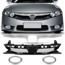 Grade Dianteira New Civic 09 10 11 + Friso Cromado Grade Frontal + Par de Aros Apliques Cromados - Kit Prime