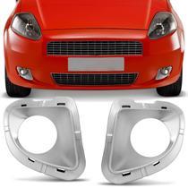Grade Moldura Farol de Milha Fiat Punto 2007 2008 2009 2010 2011 2012 Prata com Furo - Blawer