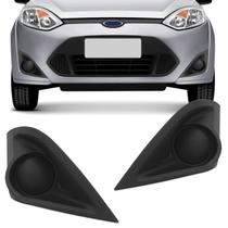 Grade Moldura Farol Milha Ford Fiesta Hatch e Sedan 2011 2012 2013 2014 Preto Sem Furo - Dts