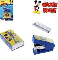 Grampeador De Metal Plastico Com Extrator De Grampo + Caixa Com 500 Grampos Mikey - Etipel -