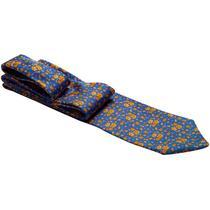 Gravata azul com desenho em flores laranjas - Gravatas Grongo