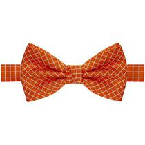 Gravata borboleta laranja com listras brancas - Gravatas Grongo