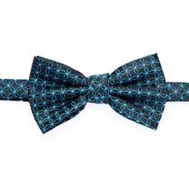 Gravata borboleta preta com pétalas azul royal e pontos brancos - Gravatas Grongo