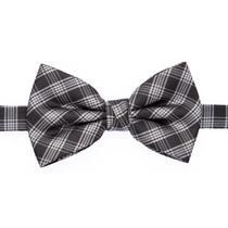 Gravata borboleta xadrez preta com listras cinza claro - Gravatas Grongo