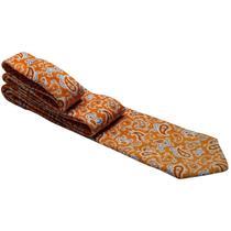 Gravata laranja com desenhos em cashmere - Gravatas Grongo
