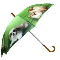 Guarda chuva cabo curvo madeira decorado c/8 varetas m.brilhante -