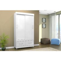Guarda-roupa 2 portas de correr 2 gavetas branco/lilas - 18425 - Araplac