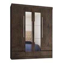 Guarda Roupa 4400 4 Portas com Espelho 4 Gavetas Imbuia - Araplac -