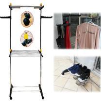 Guarda roupa arara varal de chao 2 andares com cabideiro e sapateira com rodinhas em inox multifuncional desmontavel - Makeda