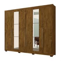 Guarda Roupa Barcelona C/ Espelho Castanho Wood - Moval móveis