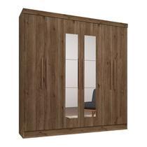 Guarda Roupa Casal 06 Portas Com Espelho Luna 798 Ebano Rustico Qmovi -