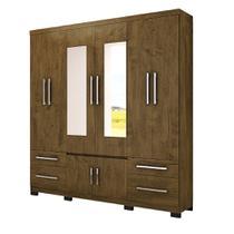 Guarda Roupa Casal 08 Portas e Espelho Porto Moval Castanho Wood -