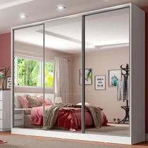 Guarda Roupa Casal 100% Mdf com Espelho Madesa Royale 3 Portas de Correr - Madesa Móveis -