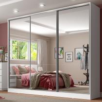 Guarda Roupa Casal 100% MDF com Espelho Royale 3 Portas de Correr 1063093E Madesa -