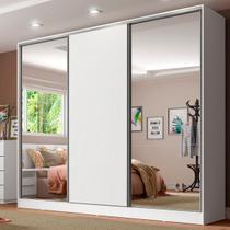 Guarda Roupa Casal 100% Mdf Madesa Royale 3 Portas de Correr com Espelhos - Branco - Madesa Móveis -