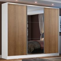 Guarda Roupa Casal 100% MDF Madesa Zurique 3 Portas de Correr com Espelho - Branco/Rustic -