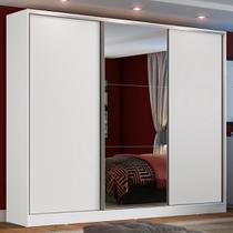 Guarda Roupa Casal 100% MDF Madesa Zurique 3 Portas de Correr com Espelho - Branco -