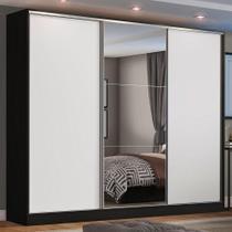 Guarda Roupa Casal 100% MDF Madesa Zurique 3 Portas de Correr com Espelho - Preto/Branco -