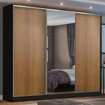 Guarda Roupa Casal 100% MDF Madesa Zurique 3 Portas de Correr com Espelho - Preto/Rustic -