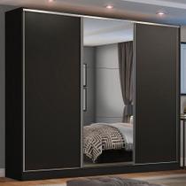 Guarda Roupa Casal 100% MDF Madesa Zurique 3 Portas de Correr com Espelho - Preto -