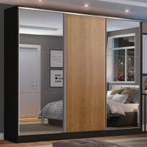 Guarda Roupa Casal 100% MDF Madesa Zurique 3 Portas de Correr com Espelhos - Preto/Rustic -