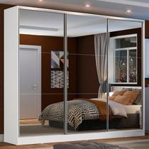 Guarda Roupa Casal 100% Mdf Madesa Zurique 3 Portas de Correr de Espelho - Branco - Madesa Móveis -