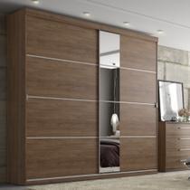 Guarda-Roupa Casal 2 Portas de Correr com Espelho 2  Gavetas THB Magnata Glass -